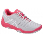 Asics Women's Gel Resolution 7 Tennis Shoes (Glacier Grey/White/Rouge Red) - Women's Tennis Shoes