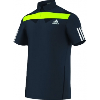 Adidas Men's Adipower Barricade Traditional Polo (Navy/Green)