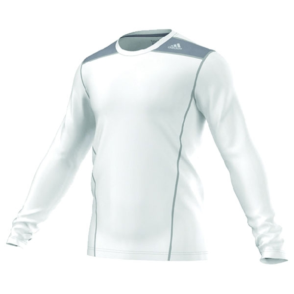 Adidas TechFit Fitted L/S Top (White/Grey)
