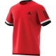Adidas Men's Club Three Stripe Tennis Tee (Scarlet) - Tennis Apparel