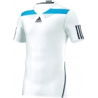 Adidas Men's Adipower Barricade Crew Tee Semi-Fitte (White/Blue) - Tennis Apparel