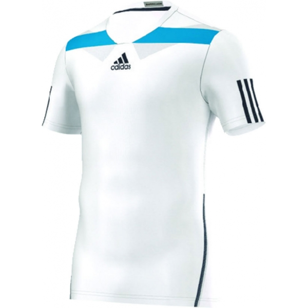 Adidas Men's Adipower Barricade Crew Tee Semi-Fitte (White/Blue)