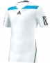 Adidas Men's Adipower Barricade Crew Tee Semi-Fitte (White/Blue) - Adidas Men's Apparel Tennis Apparel