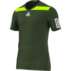 Adidas Men's Adipower Barricade Crew Tee Semi-Fitte (Green/Yellow) - Tennis Apparel