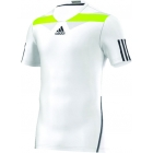 Adidas Men's Adipower Barricade Crew Tee Semi-Fitte (White/Yellow) - Tennis Apparel