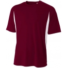 A4 Men's Performance Color Block Crew Shirt (Maroon) - Tennis Apparel Brands