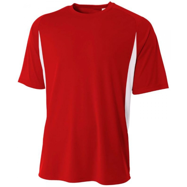 A4 Men's Performance Color Block Crew Shirt (Scarlet)