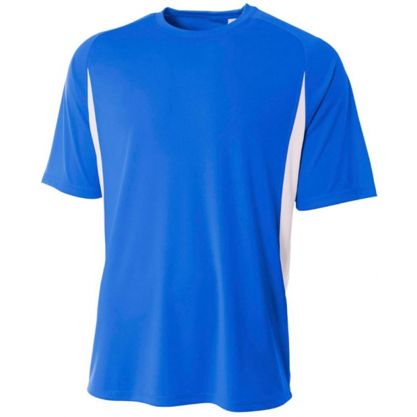 A4 Men's Performance Color Block Crew Shirt (Royal)