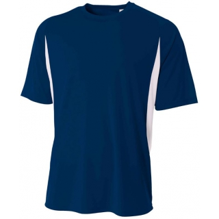 A4 Men's Performance Color Block Crew Shirt (Navy)