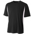A4 Men's Performance Color Block Crew Shirt (Black) - Tennis Apparel Brands