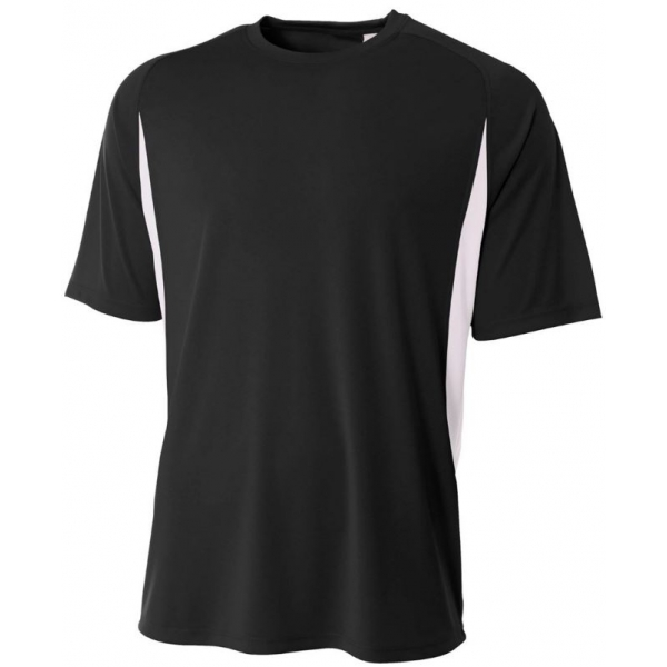 A4 Men's Performance Color Block Crew Shirt (Black)