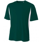 A4 Men's Performance Color Block Crew Shirt (Forest) - Men's Team Apparel