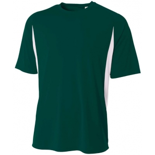 A4 Men's Performance Color Block Crew Shirt (Forest)