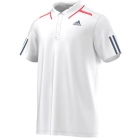 Adidas Men's Barricade Polo (White/Tech Ink/Flash Red) - Tennis Apparel