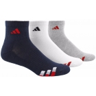 Adidas Men's Cushioned 3-Pack Quarter, Large (Navy/White/Heather Grey) - Tennis Apparel