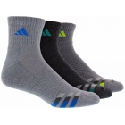 Adidas Men's Cushioned 3-Pack Quarter, Large (Grey/Black/Onix) - Tennis Apparel