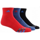 Adidas Men's Cushioned 3-Pack Quarter, Large (Red/Blue/Black) - Adidas Tennis Socks