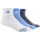 Adidas Men's Cushioned 3-Pack Quarter, Large (White/Light Blue/Onix) - Tennis Apparel