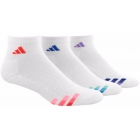 Adidas Women's Cushioned Variegated 3-Pack Quarter (White/Red/Blue/Purple) - Adidas Apparel