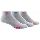 Adidas Women's Cushioned Variegated 3-Pack Low Cut (Grey/Pink/Blue/Orange) - Adidas Apparel