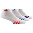 Adidas Women's Cushioned Variegated 3-Pack Low Cut (White/Red/Blue/Purple) - Adidas Apparel