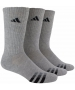 Adidas Men's Cushioned 3-Pack Crew, Large (Grey/Black) - Adidas Tennis Socks