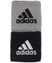 Adidas Interval Reversible Tennis Wristband (Black/White/Silver) - Adidas Headbands & Wristbands