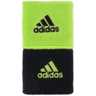 Adidas Interval Reversible Tennis Wristbands (Black/Lime) - Tennis Accessories