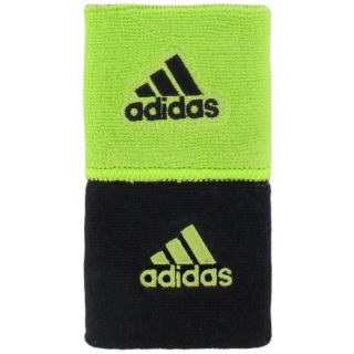 Adidas Interval Reversible Tennis Wristbands (Black/Lime)