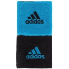 Adidas Interval Reversible Tennis Wristbands (Black/Blue) - Tennis Accessories