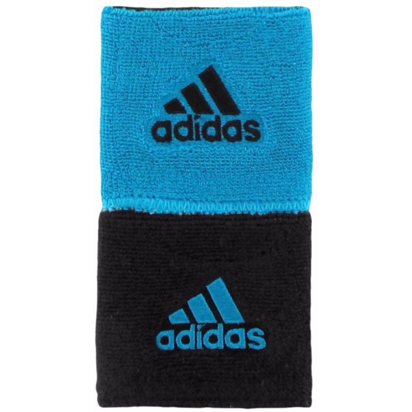 Adidas Interval Reversible Tennis Wristbands (Black/Blue)
