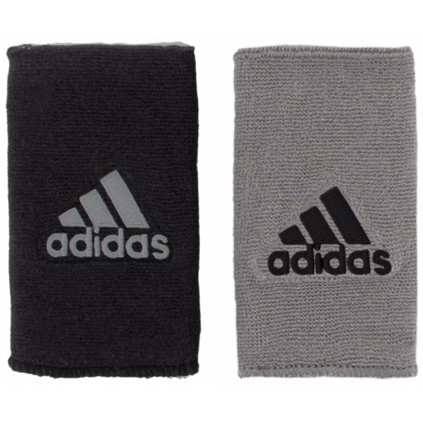 Adidas Interval Large Reversible Tennis Wristbands (Grey/Black)