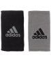 Adidas Interval Large Reversible Tennis Wristbands (Grey/Black) - Adidas Sports Headbands and Wristbands