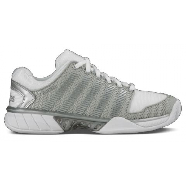 K-Swiss Women's Hypercourt Express Tennis Shoes (White/Silver)
