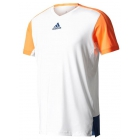 Adidas Men's Melbourne Tee (White/Glow Orange) - Tennis Apparel