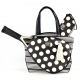 Court Couture Cassanova Tennis Bag (Stripes & Dots Black) - Designer Tennis Bags - Luxury Fabrics and Ultimate Functionality