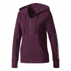 Adidas Women's Essentials Linear Full-Zip Hoodie (Red Night/White) - Women's Jackets