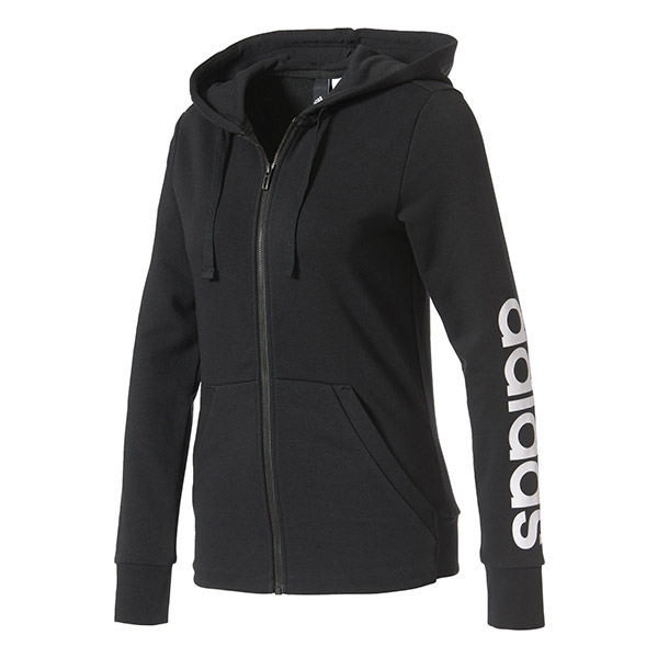 Adidas Women's Essentials Linear Full-Zip Hoodie (Black)