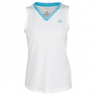 Adidas Women's Sequentials Galaxy Tank (White/ Aqua) - Women's Tops Cap-Sleeve Shirts Tennis Apparel