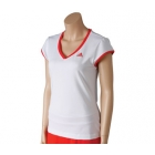 Adidas Women's Sequentials Galaxy Cap-Sleeve (White/ Red) - Women's Tops Cap-Sleeve Shirts Tennis Apparel