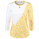Adidas Women's Stella McCartney L/S (White/Yellow) - Women's Tops Long-Sleeve Shirts Tennis Apparel