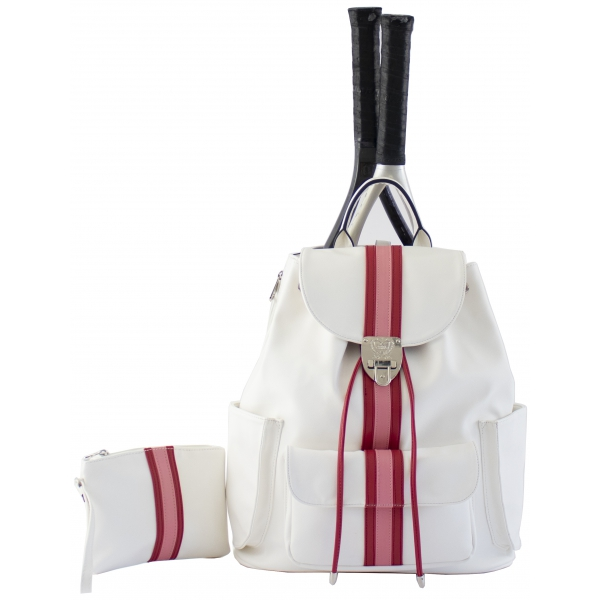 Court Couture Hampton Tennis Backpack (Striped Alabaster)