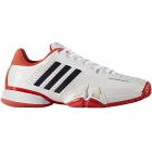 Adidas Barricade Novak Pro Tennis Shoes (White/Navy/Red) - Men's Tennis Shoes