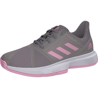 Adidas Junior CourtJam Tennis Shoes (Light Granite/True Pink)