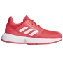 Adidas Junior CourtJam Tennis Shoes (Shock Red/White/Silver)