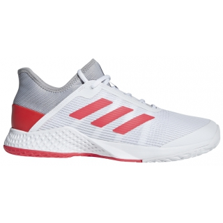 Adidas Men's Adizero Club Tennis Shoes (Light Granite/Shock Red/White)