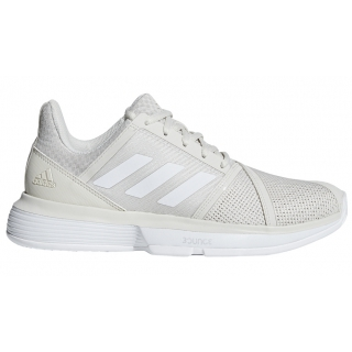 Adidas Women's CourtJam Bounce Tennis Shoes (Raw White/Matte Silver)