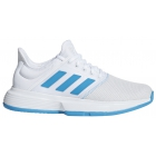 Adidas Women's GameCourt Tennis Shoes (White/Shock Cyan/Matte Silver) - New Adidas Club Tennis Apparel for Women