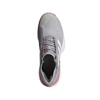 Adidas Men's Adizero Ubersonic 3.0 Tennis Shoes (Light Granite/White/Shock Red)