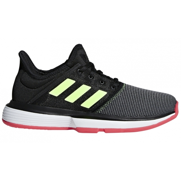 Adidas Junior SoleCourt Tennis Shoes (Black/Hi Res Yellow/Shock Red)
